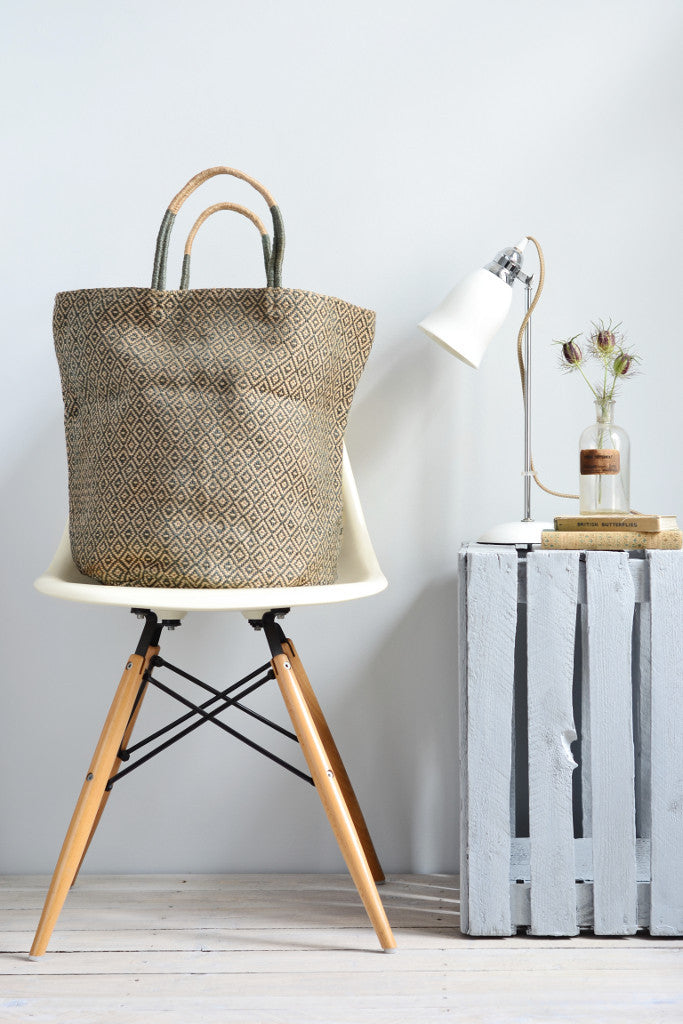 Jute bag: Grey diamonds