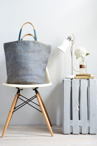 Jute bag: Blue diamonds