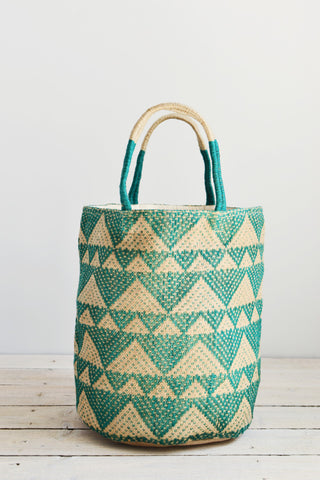 Jute bag: Emerald triangles