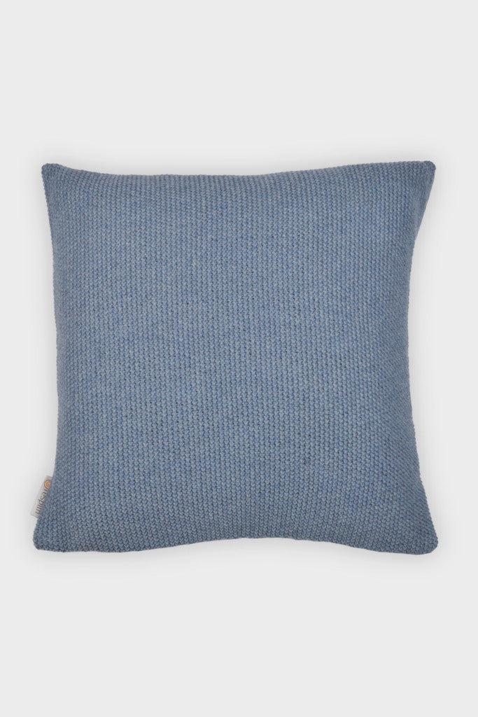 Knitted wool cushion cover: Denim Blue