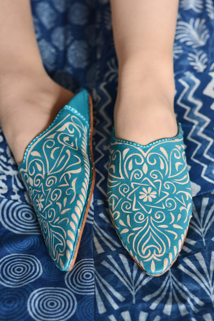 Ladies Moroccan leather slippers: Teal - Slippers - Decorator's Notebook