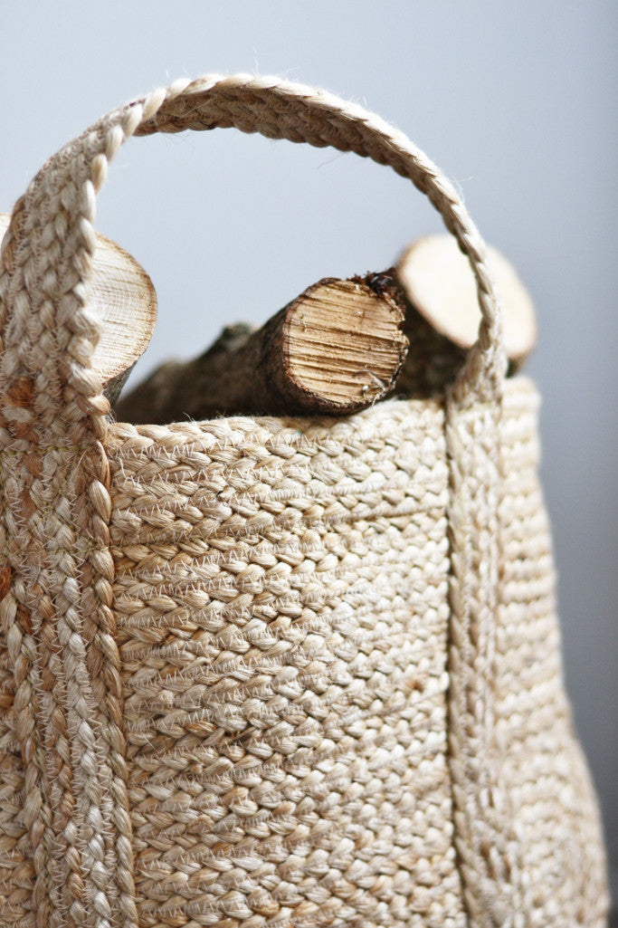 Large Log Basket: Natural Hemp