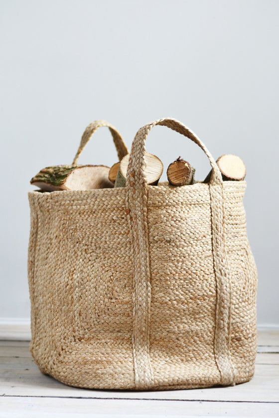 Large Log Basket: Natural Hemp - Baskets and Storage - Decorator's Notebook