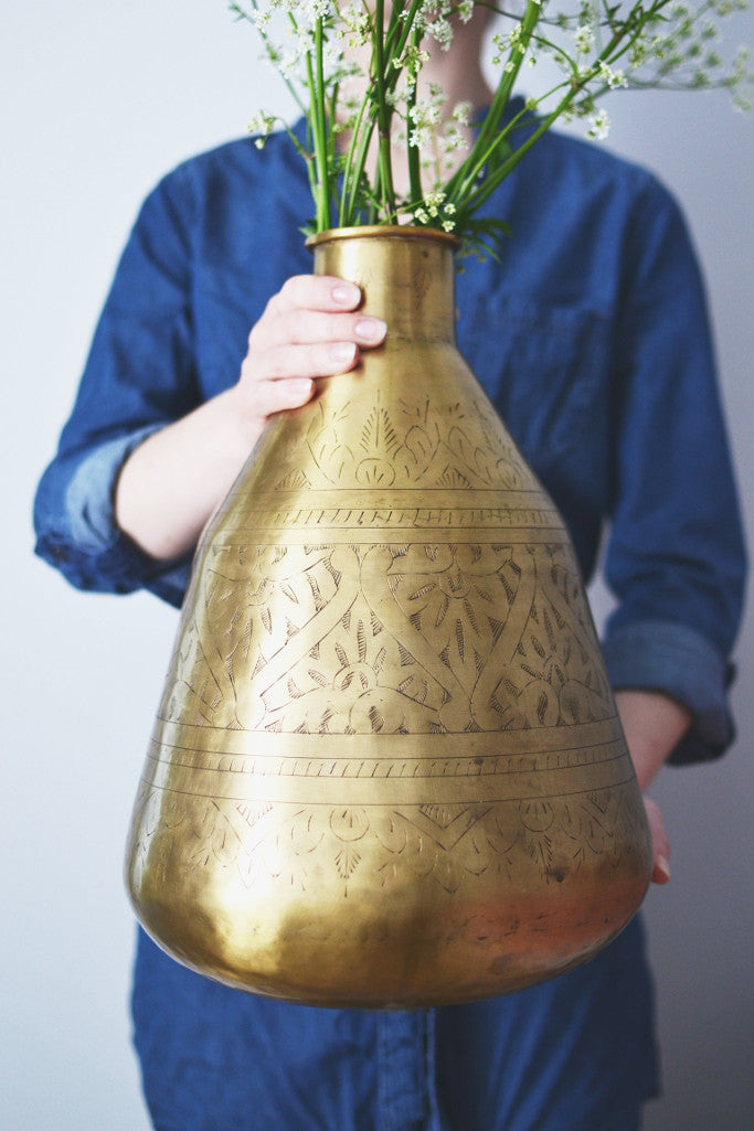 Hand-etched brass pot: tall