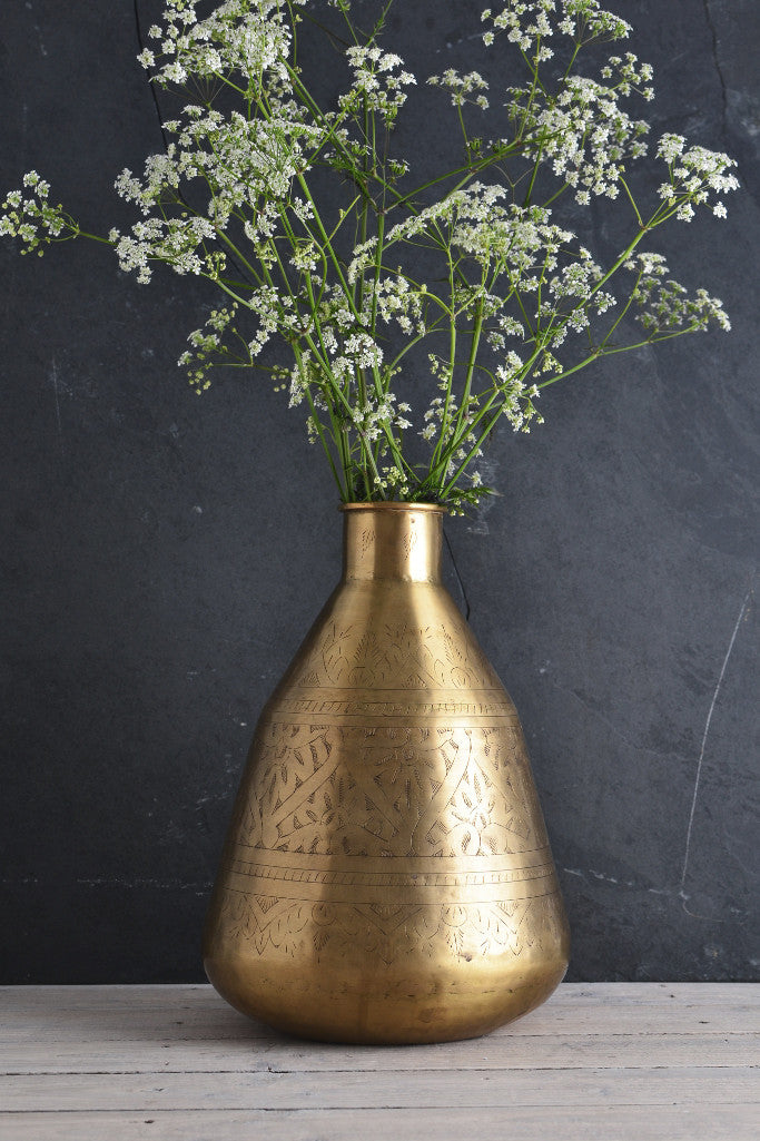- Hand-etched brass pot: tall - Décor and Vases - Decorator's Notebook
