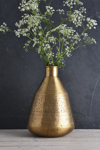 Hand-etched brass vase: tall