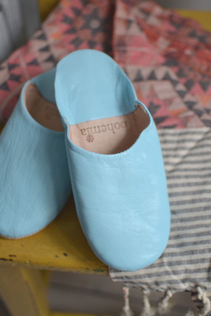 Ladies Moroccan leather slippers: Sky Blue - Slippers - Decorator's Notebook