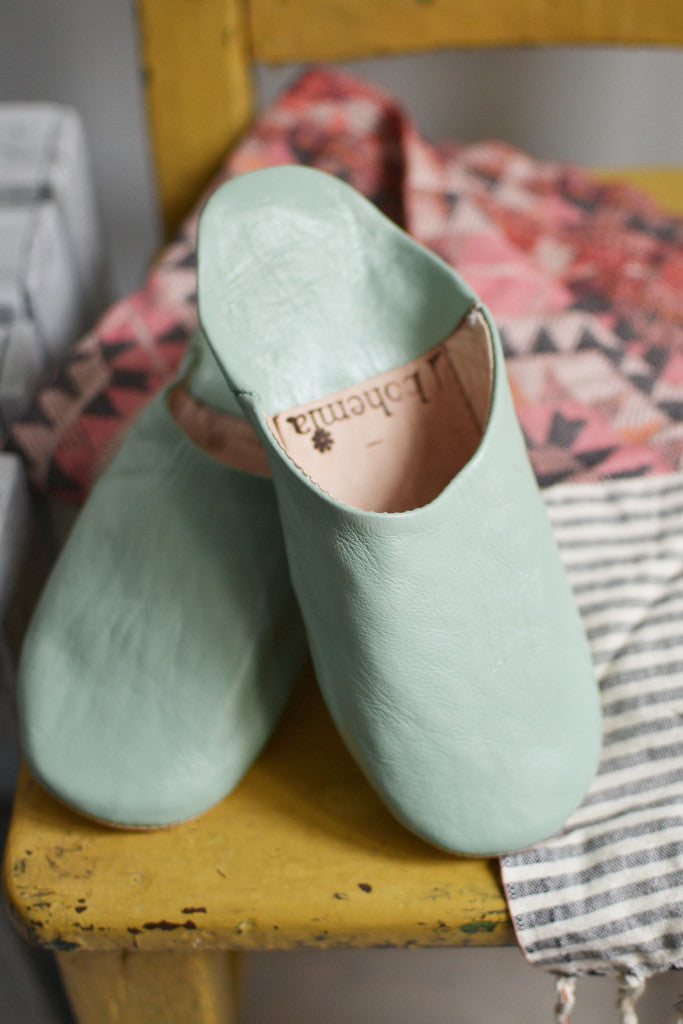 Ladies Moroccan leather slippers: Sage - Slippers - Decorator's Notebook