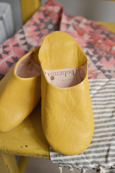 Ladies Moroccan Leather Slippers Mustard Decorator S