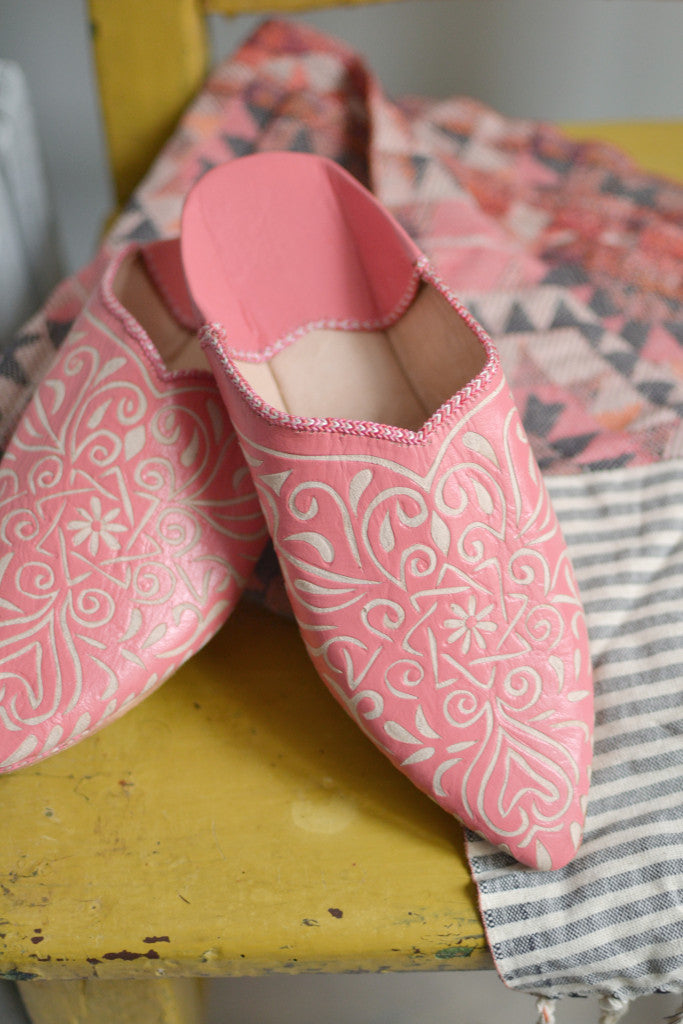 Ladies Moroccan leather slippers: Coral - Slippers - Decorator's Notebook