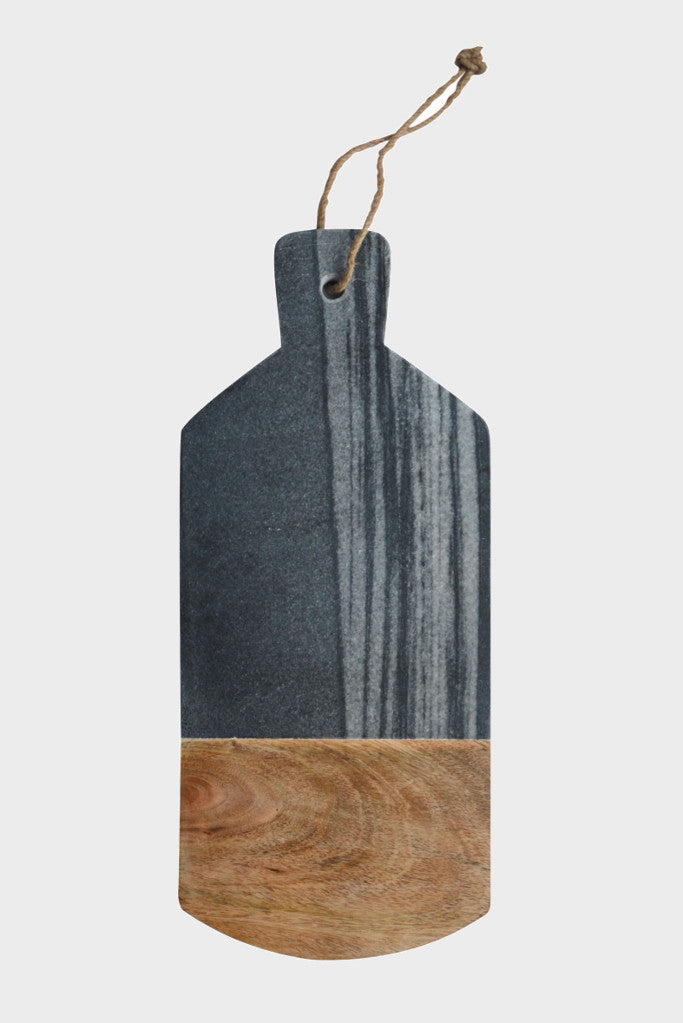 Grey marble and mango wood serving board: rectangle