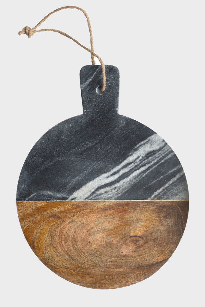 Grey marble and mango wood serving board: round
