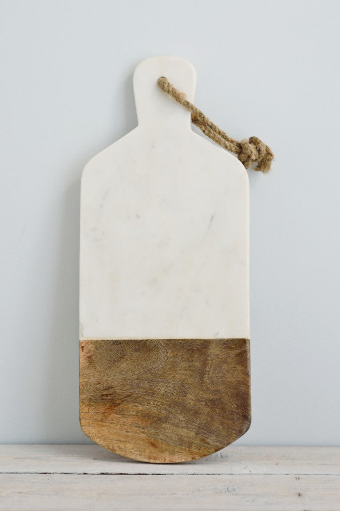 White marble and mango wood serving board: rectangle
