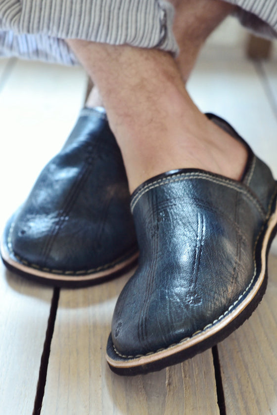 Men's Moroccan leather slippers: Blue-grey - Slippers - Decorator's Notebook