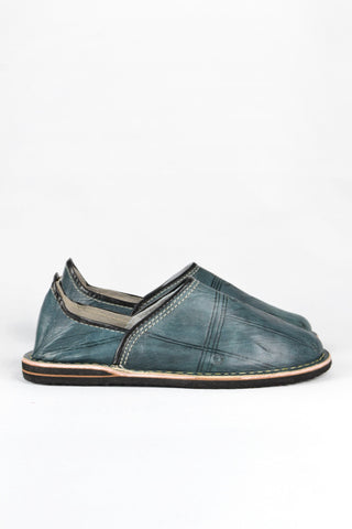 Men's Moroccan leather slippers: Blue-grey