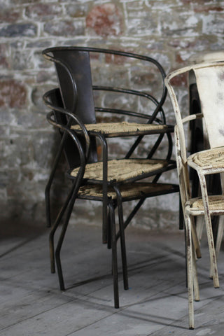 'Vikar' industrial dining chair with wicker seat: iron