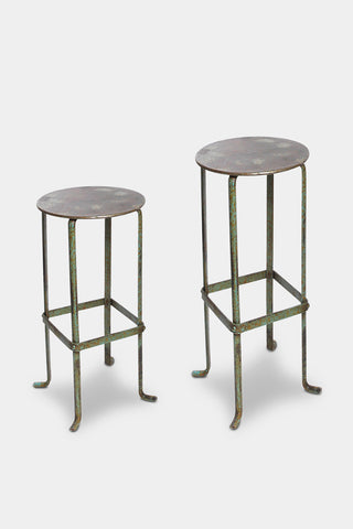 'Piro' green metal stool: short