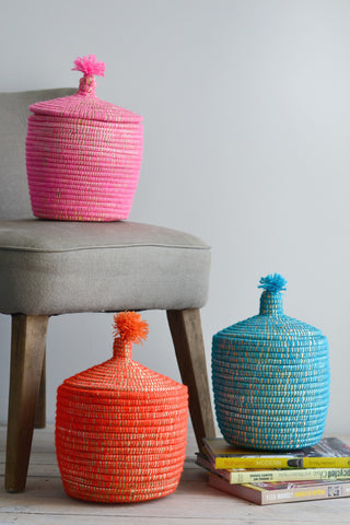 Moroccan basket with lid: pink