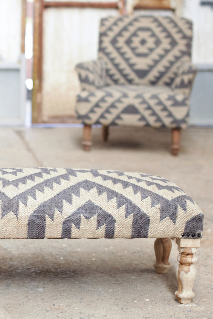 'Odum' geometric blue-grey jute upholstered ottoman - Furniture - Decorator's Notebook