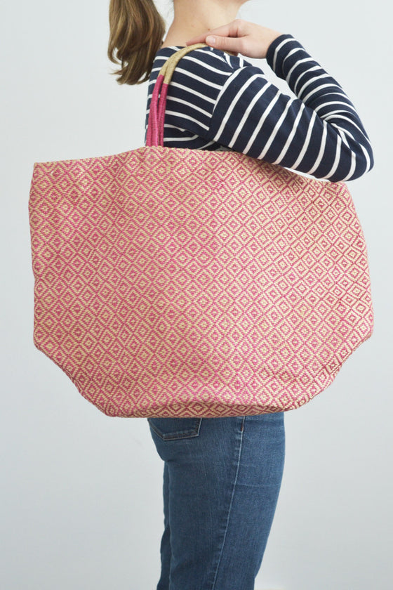 Jute bag: Pink diamonds