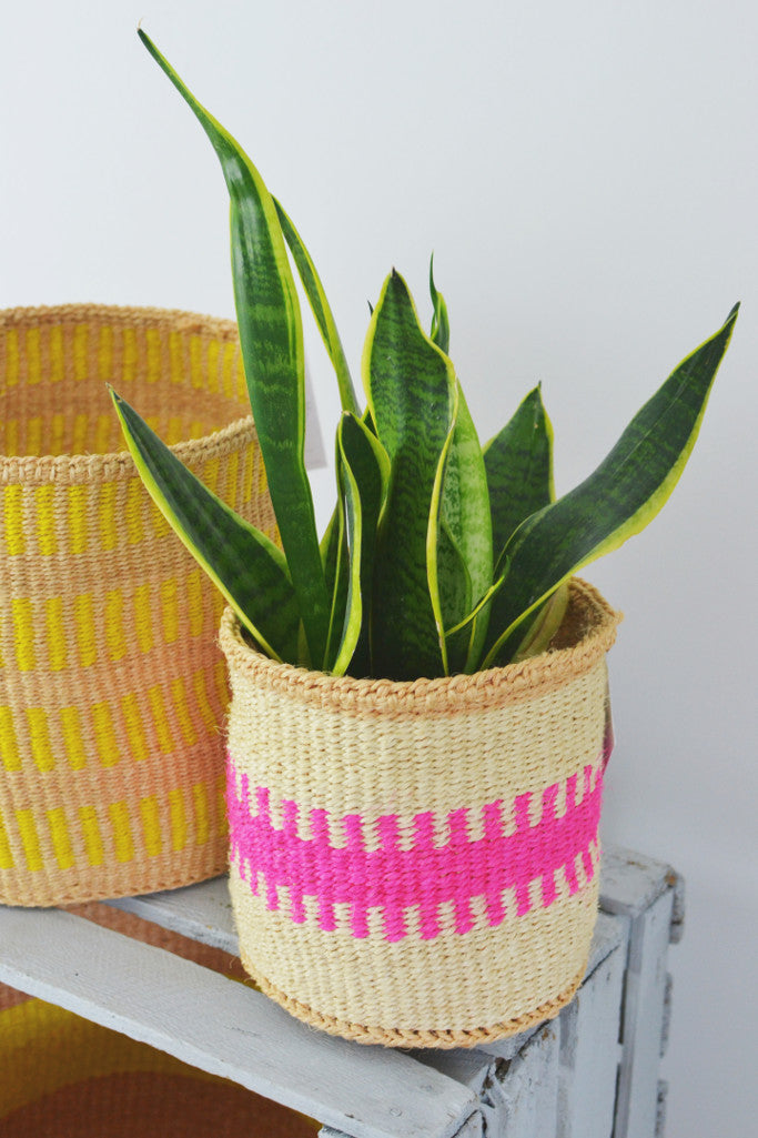 Pink and Sand Kenyan baskets (choice of 5 sizes) - Baskets and Storage - Decorator's Notebook
