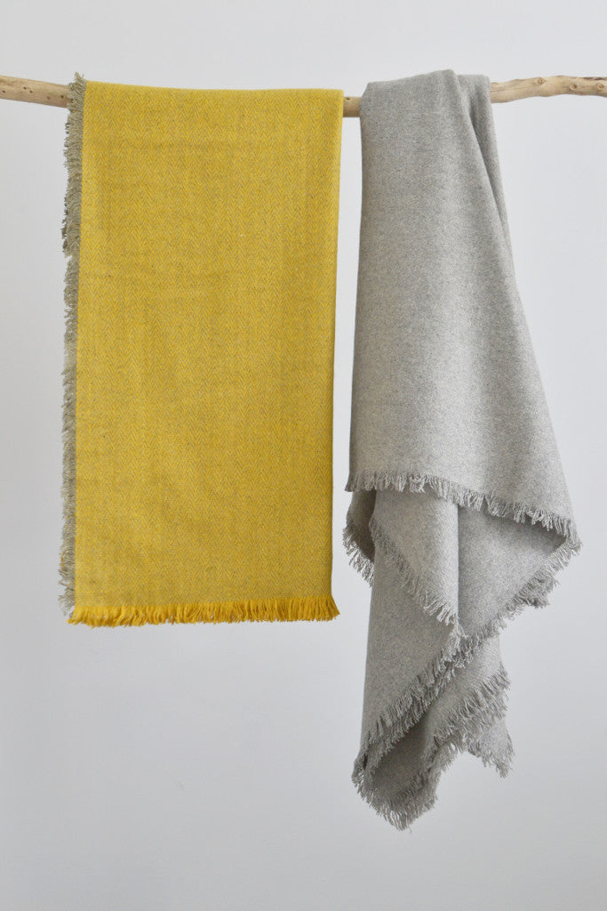 Woven wool throw: Saffron Herringbone