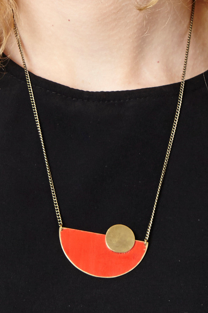Sunrise red semi-circle necklace - Jewellery - Decorator's Notebook