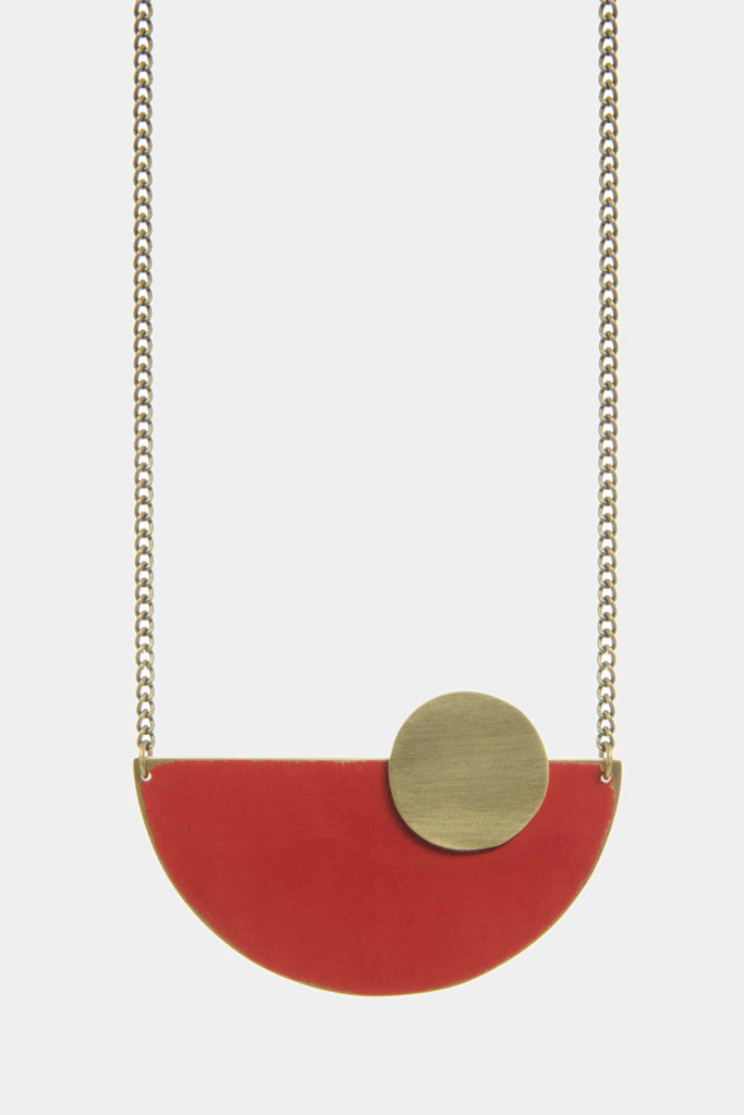 Sunrise red semi-circle necklace