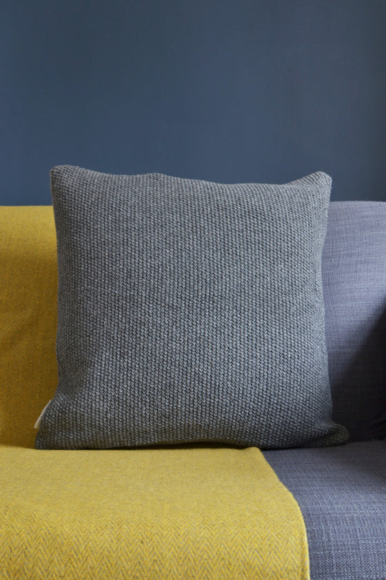 Knitted wool cushion cover: Dark Grey