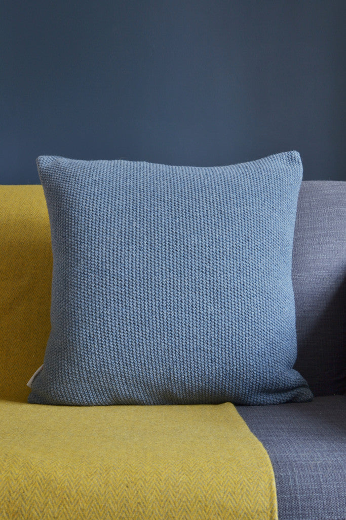 Knitted wool cushion cover: Denim Blue - Cushions - Decorator's Notebook