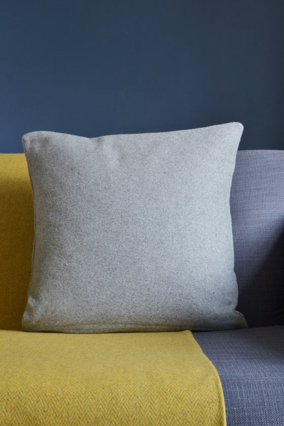 Woven wool cushion cover: Light Grey