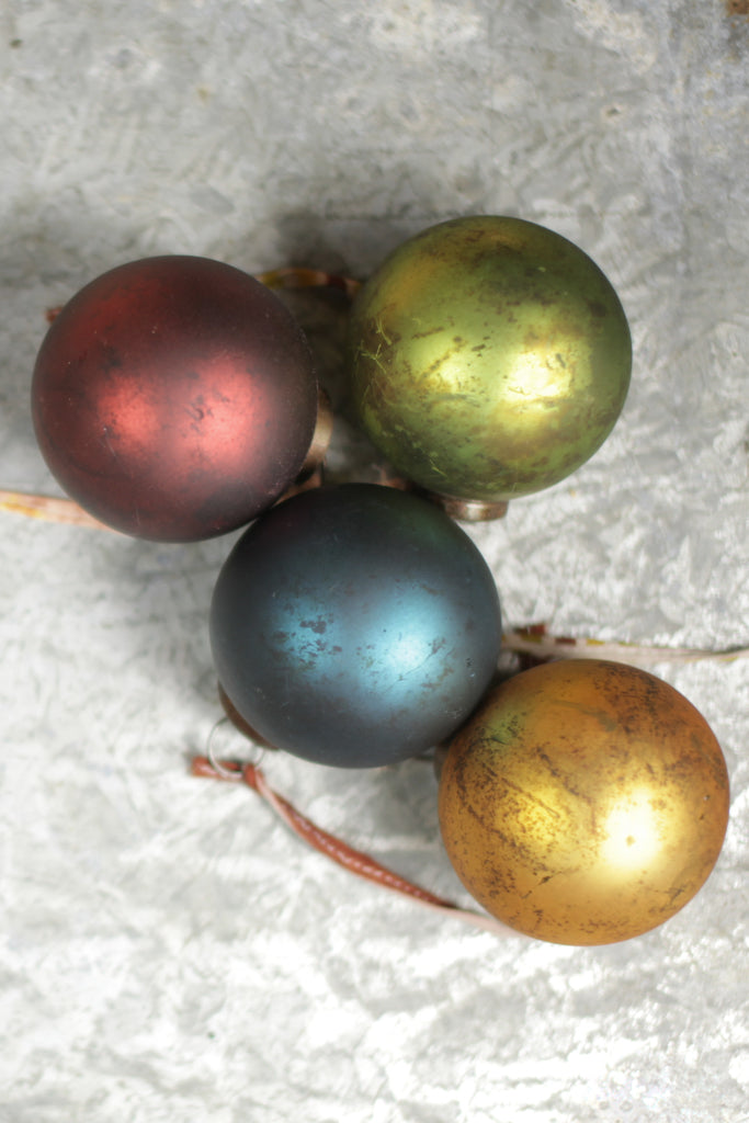 Round coloured glass baubles: set of four - Christmas - Decorator's Notebook