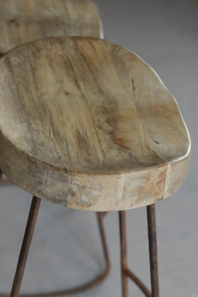 'Loko' industrial wood and iron stool: short