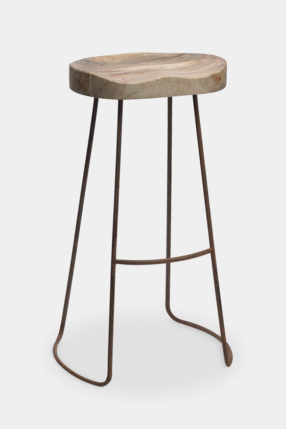 'Loko' industrial wood and iron bar stool: tall - Furniture - Decorator's Notebook