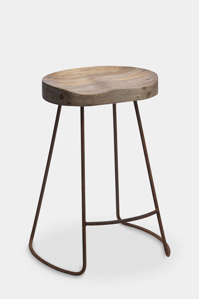 'Loko' industrial wood and iron stool: short - Furniture - Decorator's Notebook