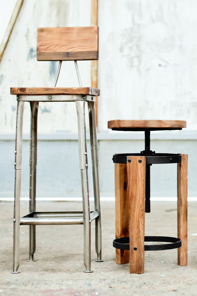 'Sula' reclaimed pine adjustable stool
