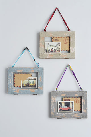 Double sided picture frame: distressed wood