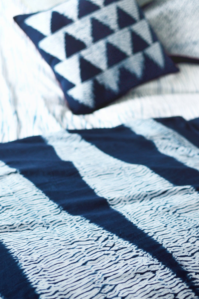 Indigo Shibori Cushion: Arrow - Cushions - Decorator's Notebook
