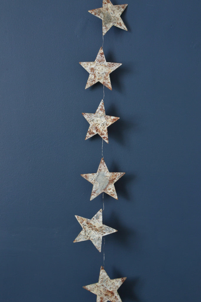 Aged zinc star garland 190cm - Décor and Vases - Decorator's Notebook