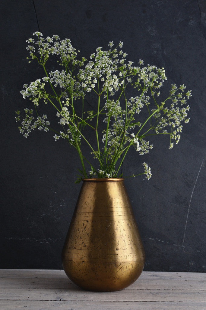 Hand-etched brass pot: tapered