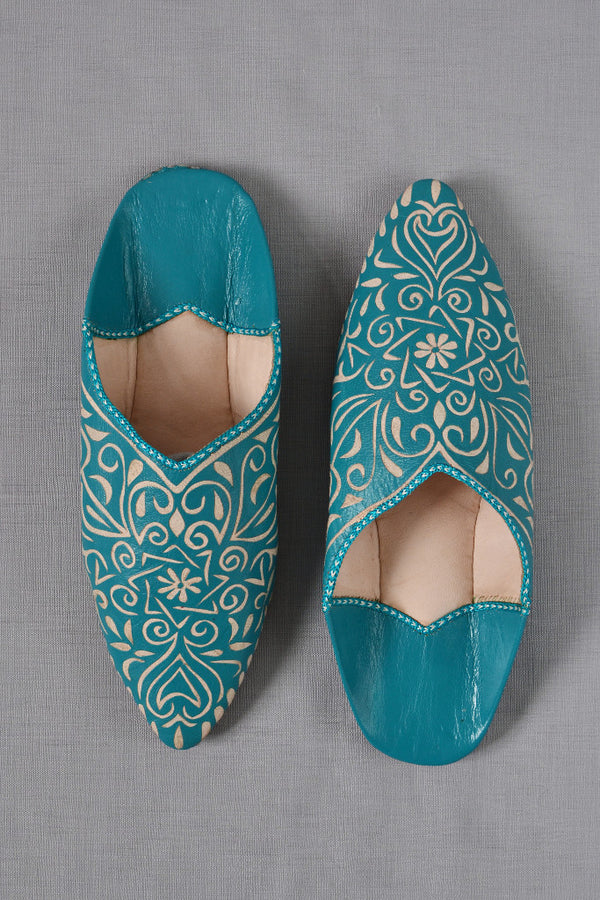 Ladies Moroccan Leather Slippers Teal Blue With Pattern
