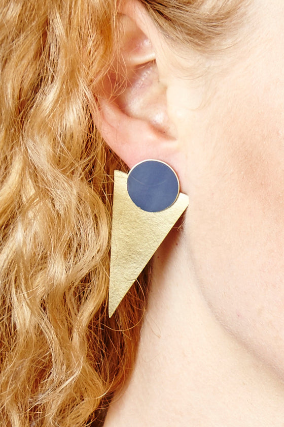Blue Statement Stud earrings - Jewellery - Decorator's Notebook