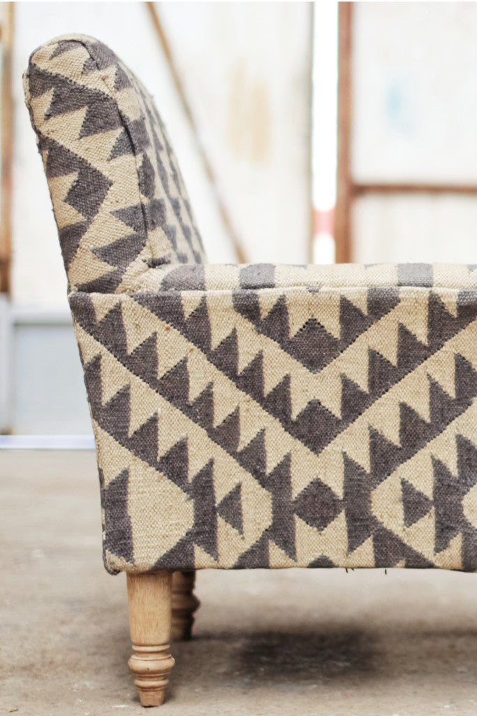 'Odum' geometric grey jute upholstered armchair