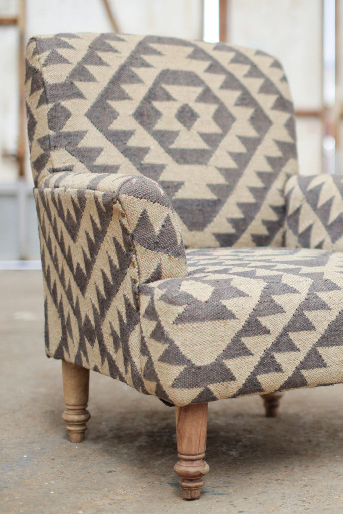 'Odum' geometric blue-grey jute upholstered armchair - Furniture - Decorator's Notebook