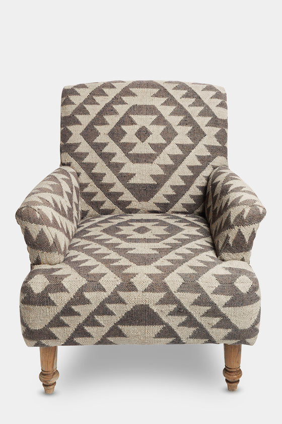 'Odum' geometric blue-grey jute upholstered armchair