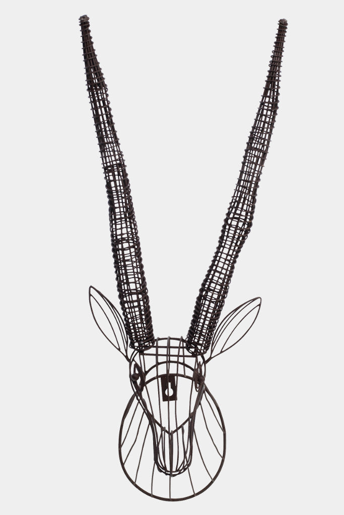Wire Antelope Head Wall Sculpture - Wall Art - Decorator's Notebook