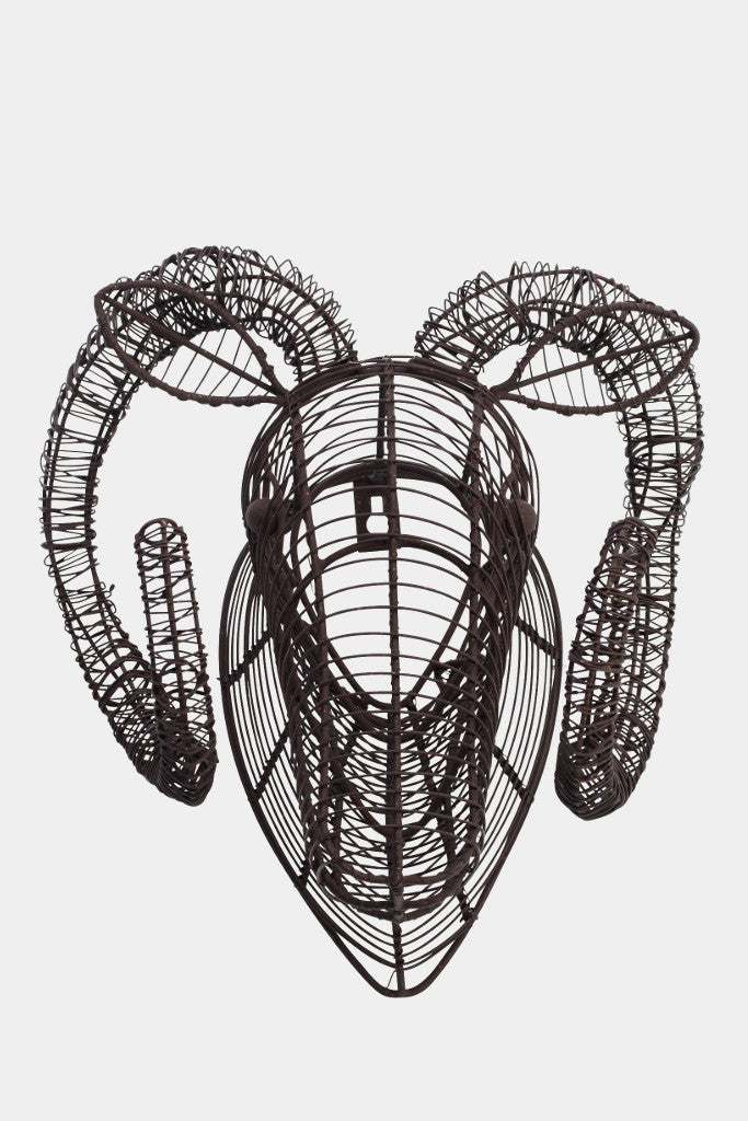 Wire Ram Head Wall Sculpture - Wall Art - Decorator's Notebook