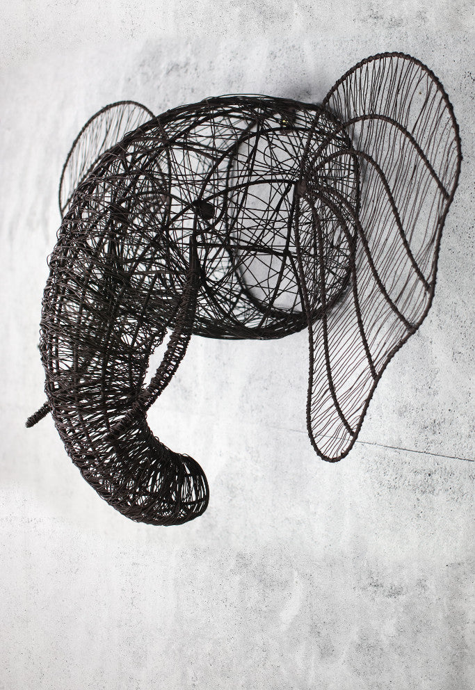 Wire elephant head wall sculpture