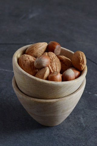 Wooden nibble bowls: set of two