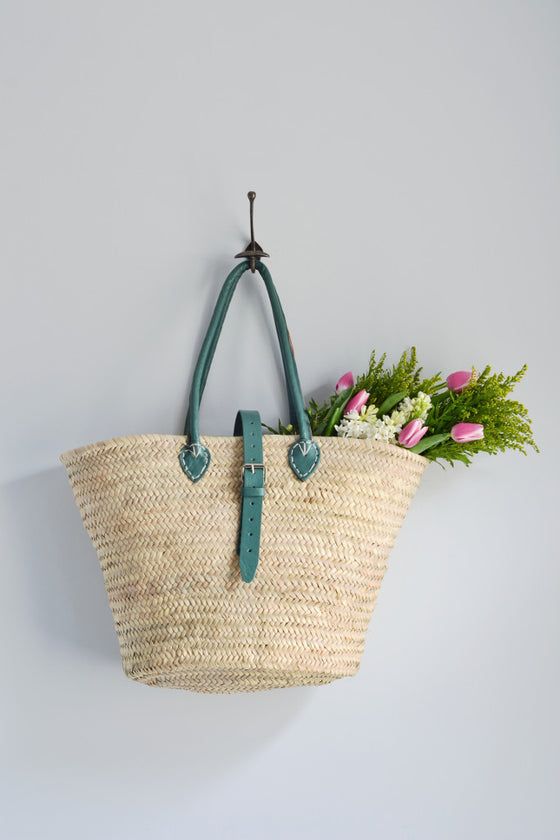 French shopping basket with leather handles: sage